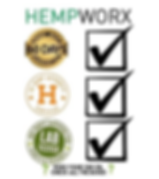 This image shows the certification certificate that Hempworx is reconized for.  Those certificatons are; Hemp Authority Seal, Lab Tested with COD testing, and a 60 Day MoneyBack Guarantee.
