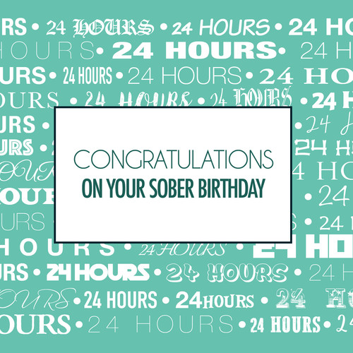 Sober anniversary cards i recovery i sobriety birthdays 24 hours sober birthday card bookmarktalkfo Choice Image
