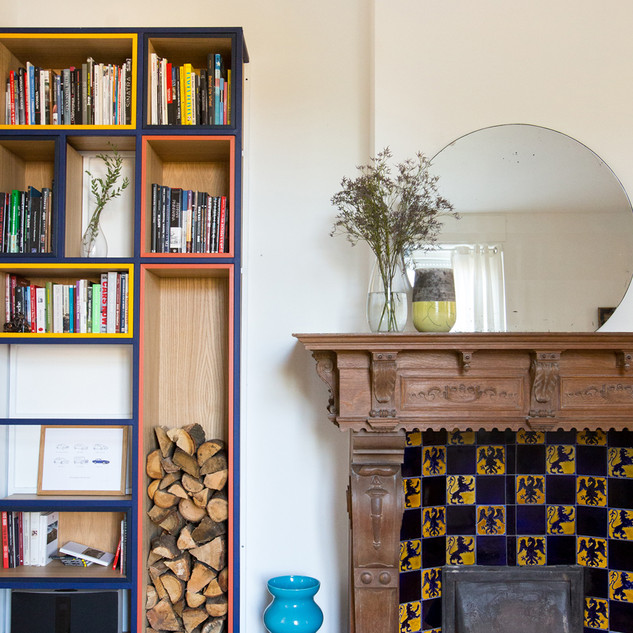 Living room fireplace / library details