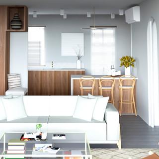 Salon avec cuisine semi ouverte