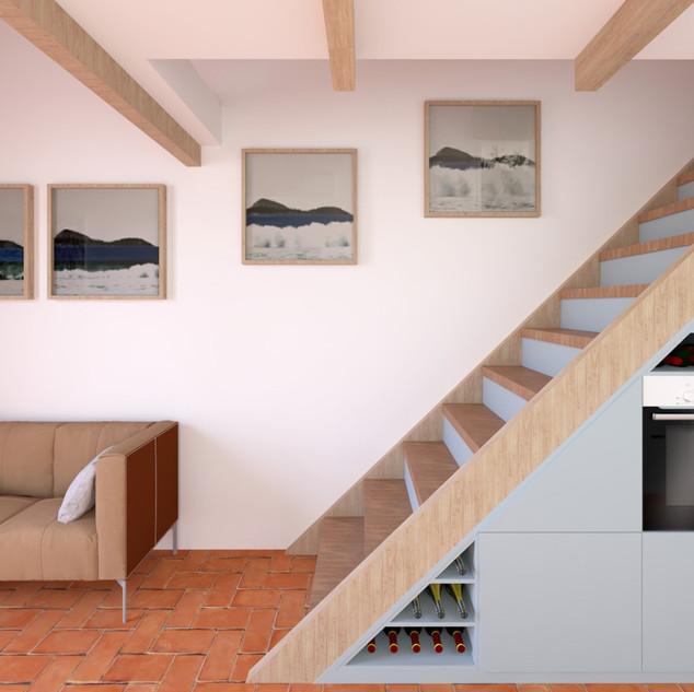 Kitchen under stairs