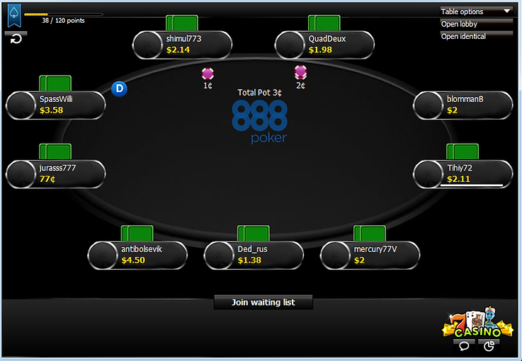 888 poker, 888 layout