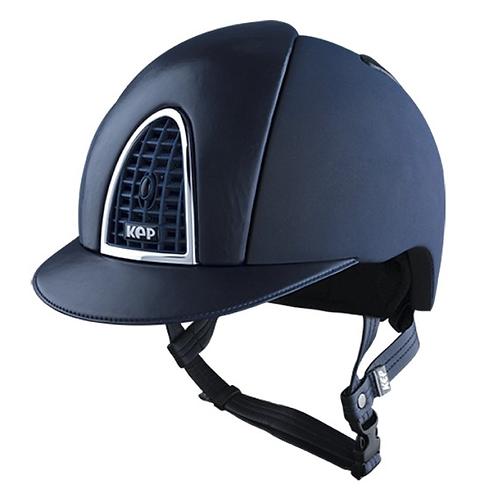KEP - Casque cromo textile bleu/cuir bleu