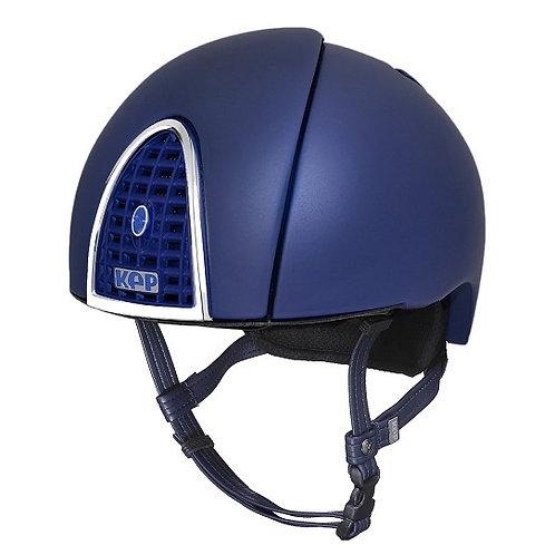 KEP - Casque cromo jockey bleu moyen