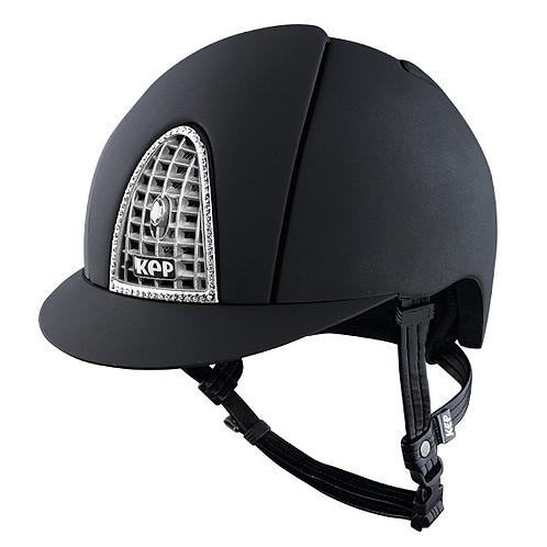 KEP - Casque cromo textile noir/swarovski/grille chrome