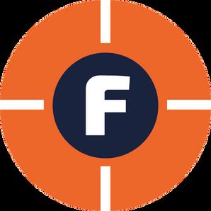FOOTCONNECTION, logo, beeldmerk, vizier, perfectie, detail, analyse, meten, F, oranje, blauw