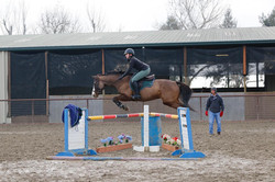 Belle riding with Dom Schramm