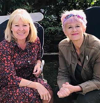 Louise and Chrissie in Garden.JPG
