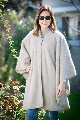 Grand poncho col tricot taille unique
