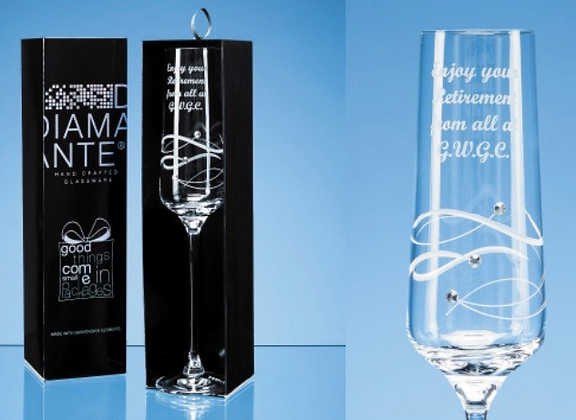 'Just forYou' Diamante Champagne Flute with Spiral
