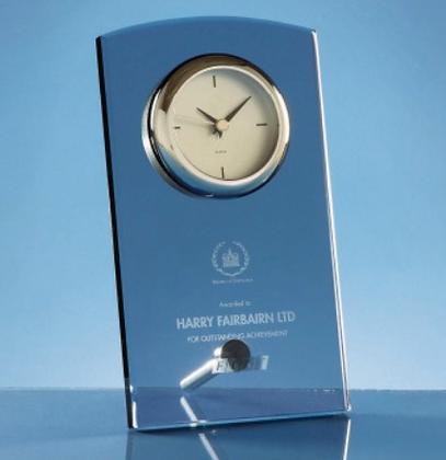 20cm Smoked Glass Rectangular Desk Clock