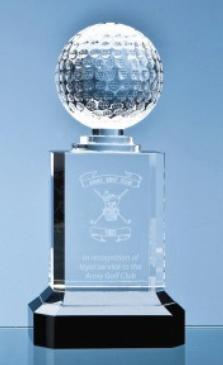 23cm Mounted Optical Crystal Golf Ball Column....