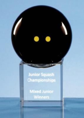 8cm Onyx Black Optic Squash Ball on Clear Base