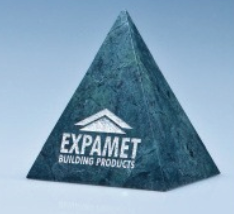 10cm Green Marble 4 Sided Pyramid Award