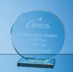 20cm x 12mm Jade Glass Circle Award