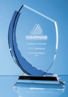 26.5cm Optical Crystal Slope Award with Sapphire..