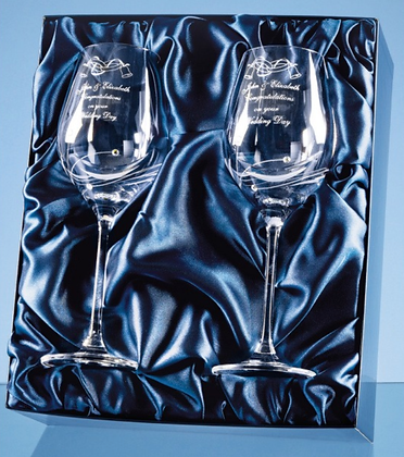 2 Diamante Wine Glasses featuring 3 Swarovski....