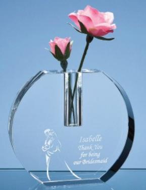 12cm Optical Crystal Rounded Bud Vase