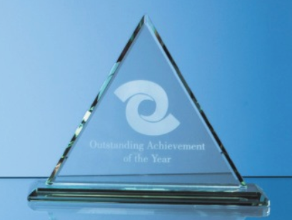 27cm x 12mm Jade Glass Pyramid Award