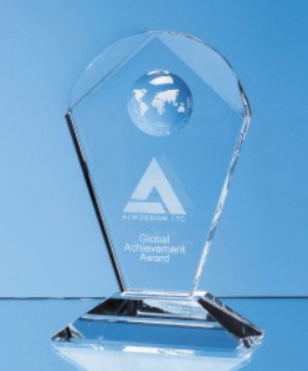 18cm Optical Crystal Arch Award with Recessed Glob
