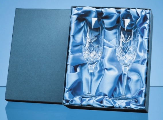 2pc 180ml Blenheim Lead Crystal Full Cut Champagne