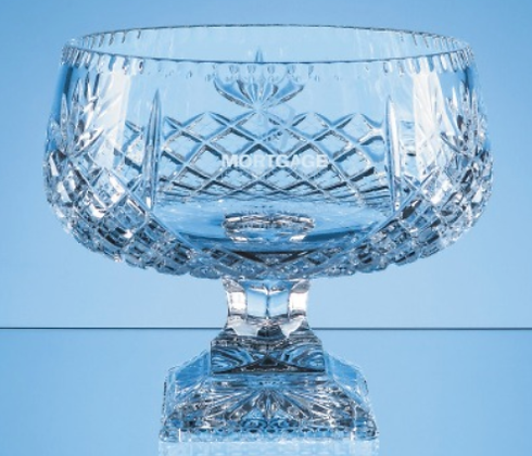 25cm Lead Crystal Square Footed Presentation Bowl