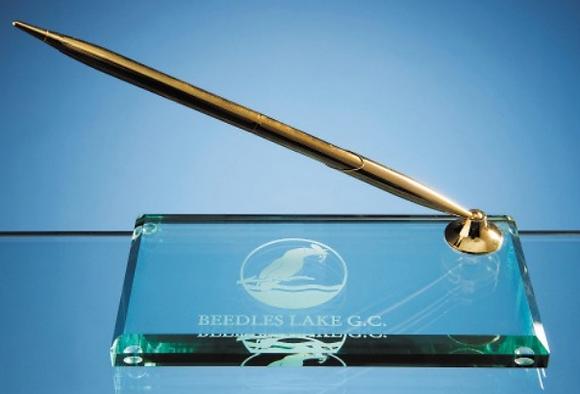 15cm Jade Glass Rectangular Pen Holder