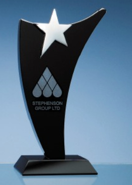 25cm Onyx Black Optic Swoop Award with Silver Star