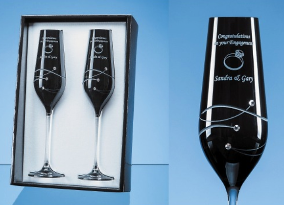2 Onyx Black Diamante Champagne Flutes with Spiral