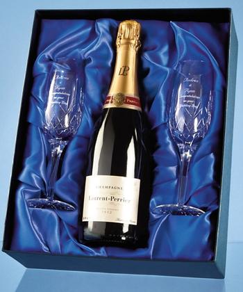 2 Blenheim Lead Crystal Panel Champagne Flutes...