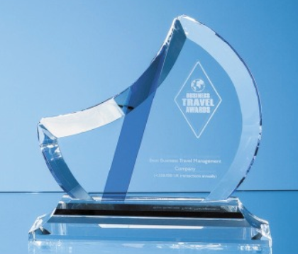 20.5cm Optical Crystal Eclipse Award with Sapphire