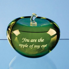 Engraved Glass apple