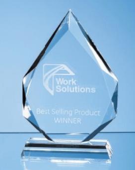 23cm x 19mm Jade Glass Facetted Diamond Peak Award