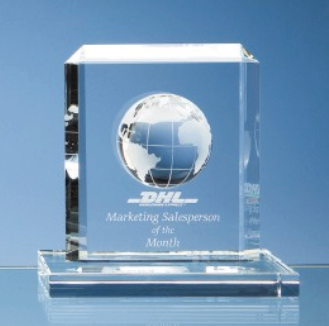 15cm Optical Crystal Globe Rectangle Awards