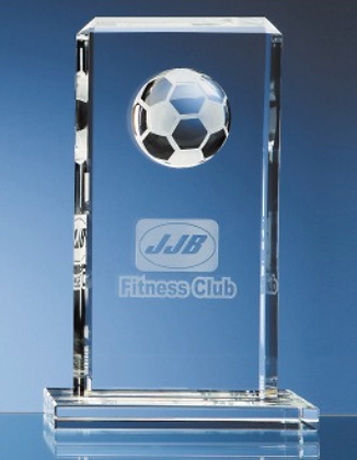 24cm Optical Crystal Football Rectangle Award