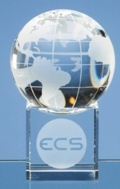 10cm Optical Crystal Globe on Clear Base