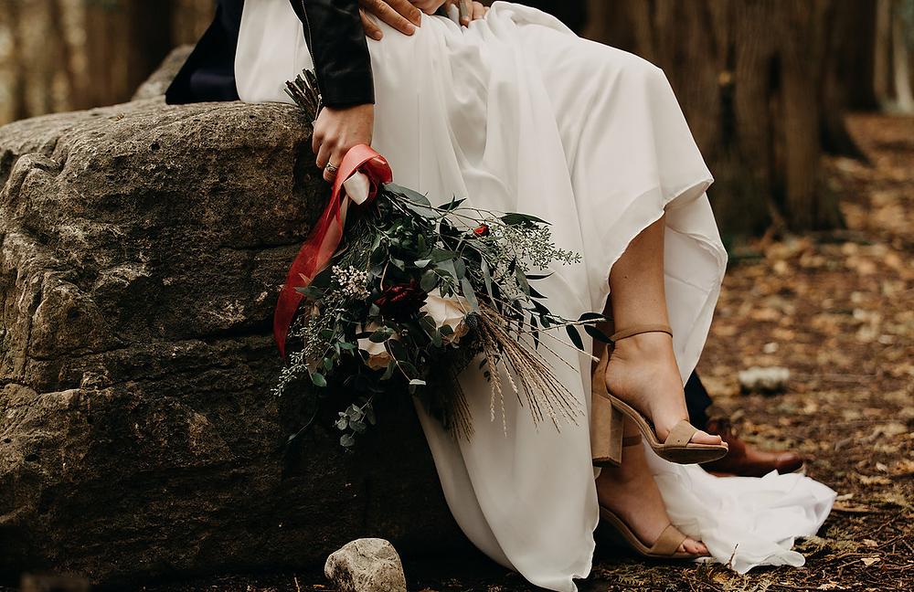 wedding gown, bridal, wedding dress, white dress, wedding shoe, florals, wedding florals