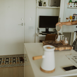 In-home Couples Session with Tarot Cards and Rosé | Ric & Vic, Toronto, ON