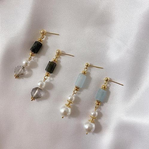Natari Closet 自家設計天然石珍珠耳飾 天藍 /灰黑