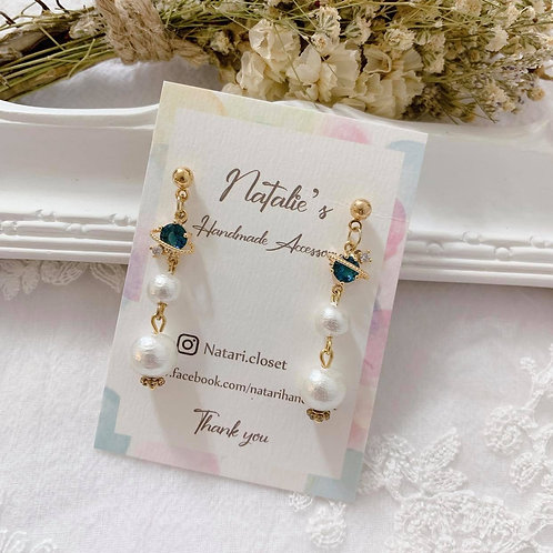 Natari Closet 自家設計深藍色星空珍珠耳飾