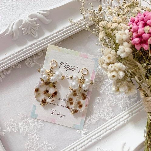 Natari Closet 自家設計啡咖波點珠拼串珍珠耳飾