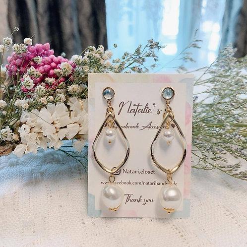 Natari Closet 自家設計海藍色貓眼石氣質珍珠耳飾