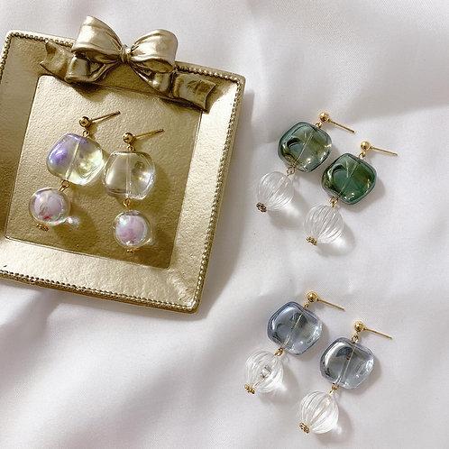 Natari Closet 自家設計琉璃透明珠耳飾 綠色下單區