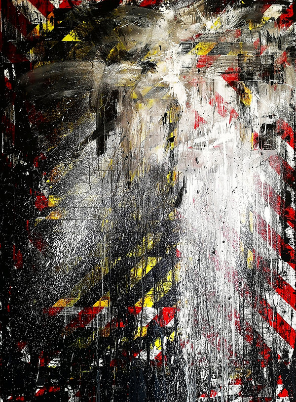 Abstract, gestural, paint drip painting by Gavin Mc Crea