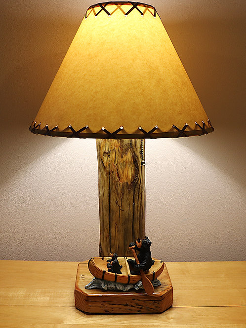 Mama Bear and Her Two Cubs Running the Rapids Table Lamp with Parchment Shade