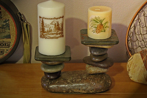 The Stone River Lodge 2 Tiered Stone Candle Holder