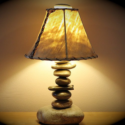 "The Clearwater Tall Stone Lamp w/12"" Rawhide Shade"