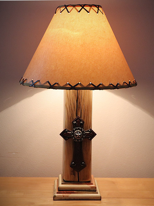 "The Old West Rustic Cross Table Lamp w/14"" Parchment Shade w/FREE Cards!"