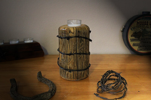 Set of 2 Rustic Votive Candle Holder w/Barbed Wire