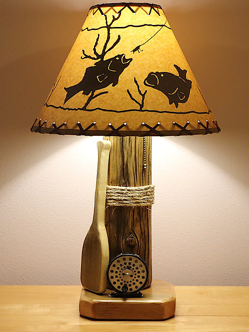 "The Clearwater River Table Lamp w/""Fish in the Water"" 14"" Parchment Shade"